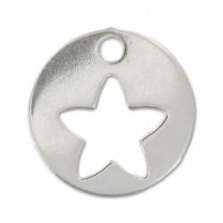 Breloque argent 925 médaillon étoile ajourée 10 mm