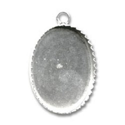 Pendentif argent 925 serti support cabochon ovale 25 mm x 18 mm