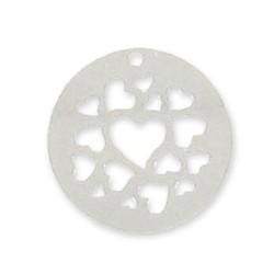 Breloque ronde sequin coeurs évidés en argent 925 disque diamètre 20 mm