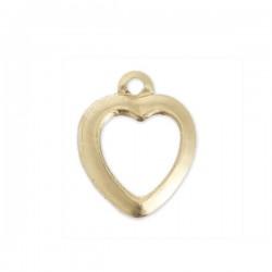 Breloque petit coeur en plaqué or 14 carats hauteur 10 mm