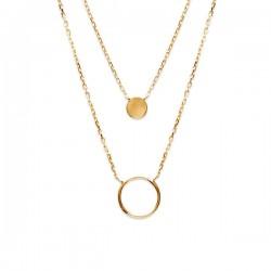 Collier 2 rangs en plaqué or 18 carats anneau 12 mm longueur 40 cm