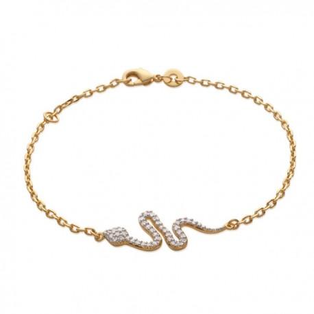 Bracelet serpent en plaqué or et zirconium bijou chic