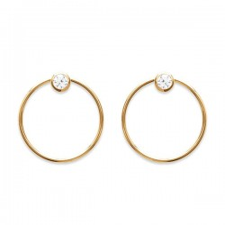 Boucles d'oreilles anneaux plaqué or 18 carats et zirconium