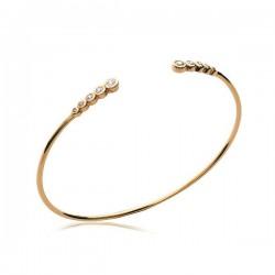 Bracelet jonc en plaqué or 18 carats et zirconium bijou tendance