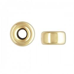 Perle rondelle 4 mm en plaqué or 14 carats Lot de 2