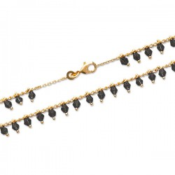 Bracelet en plaqué or 18 carats pampilles cristal noir