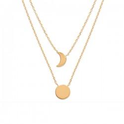 Collier 2 rangs lune soleil en plaqué or 18 carats