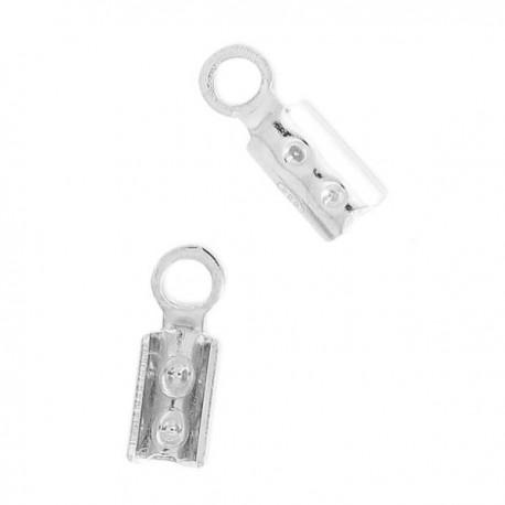 Mini pince lacet en argent 925 pour cordon fil 2 mm Lot de 6 pièces