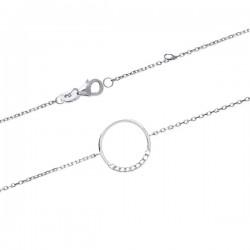 Bracelet anneau en argent 925/000 rhodié et zirconium