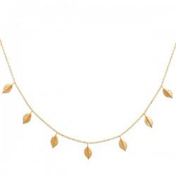 Collier plaqué or 18 carats pendants petites feuilles