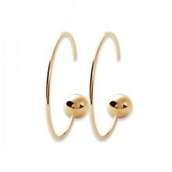Boucles d'oreilles créoles boules en plaqué or 18 carats diamètre 28 mm