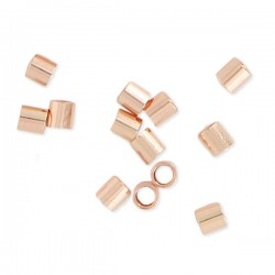 Tubes à écraser en plaqué or rose 18 carats 2 x 2 mm Lot de 15 perles