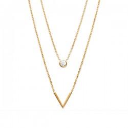 Collier 2 rangs en plaqué or 18 carats et zirconium bijou tendance
