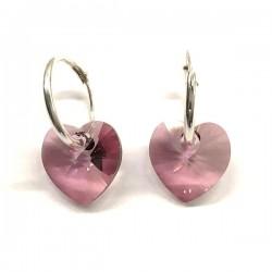 Boucles d'oreilles créoles argent 925 cœurs cristal Swarovski rose antique