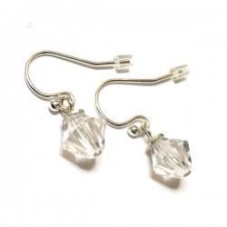 Boucles d'oreilles en argent 925/000 pendants cristal Swarovski