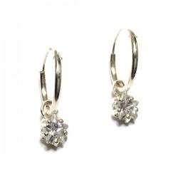 Boucles d'oreilles créoles argent 925/000 pendants petites étoiles zirconium