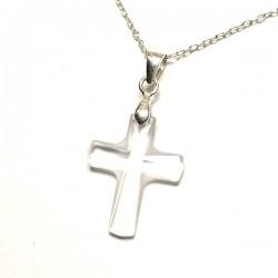 Pendentif croix cristal taillé et argent 925/000