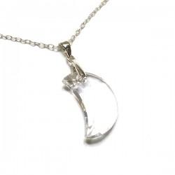 Pendentif demi lune en cristal Swarovski et argent 925/000