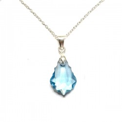 Pendentif petite goutte baroque cristal Swarovski bleu topaze Argent 925