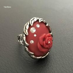 Bague fleur en argent rhodium