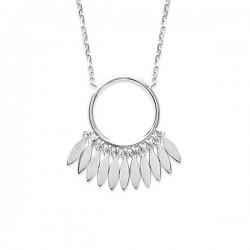 Collier argent massif 925/000 rhodié anneau petits pendants gouttes
