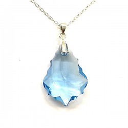 Pendentif goutte baroque cristal Swarovski bleu topaze et argent 925/000