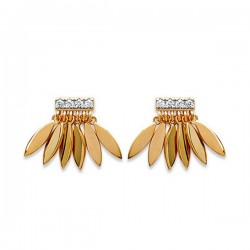 Boucles d'oreilles plaqué or 18 carats et zirconium clous pendants gouttes