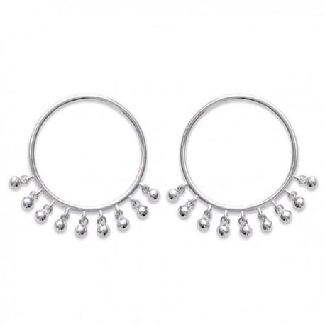 Boucles d'oreilles argent 925/000 anneaux pampilles petites boules