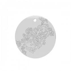 Fine breloque ronde en argent 925/000 gravure fleur
