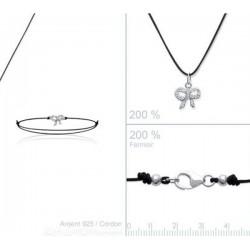 Bracelet noeud en Argent 925 et Zirconium sur cordon noir