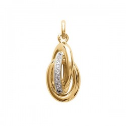 Pendentif 3 anneaux entrelacés en plaqué or et zirconium