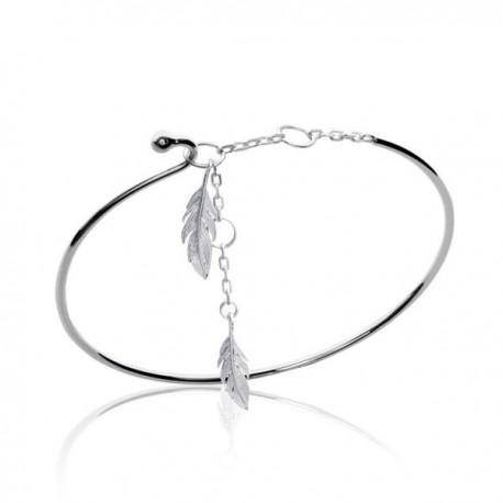 bracelet plume jonc en argent 925 000 rhodi r glable de. Black Bedroom Furniture Sets. Home Design Ideas