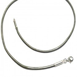 Collier cordon cuir gris métallisé et argent 925/000 Tailles 38 cm à 55 cm
