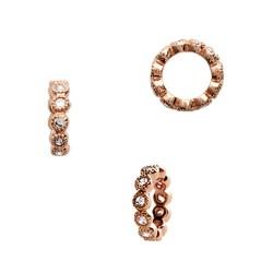 Pendentif anneau plaqué or rose 18 carats et zirconium rondelle 9 mm