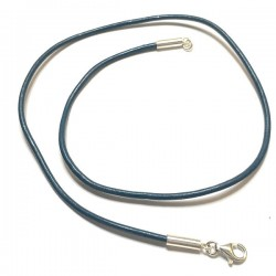 Collier cordon cuir bleu pétrole et argent 925/000 du 38 cm au 55 cm