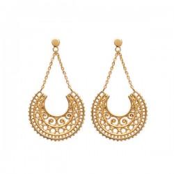 Boucles d'oreilles style ethnique en plaqué or 18 carats