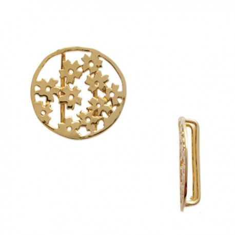Pendentif 2 passants rond ajouré fleurs breloque en plaqué or 18 carats diamètre 14 mm