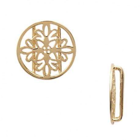 Pendentif 2 passants rond ajouré fleurs breloque en plaqué or 18 carats diamètre 15 mm