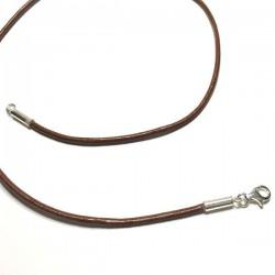 Collier cordon cuir marron fermoir argent 925 diamètre 2 mm longueur 42 cm