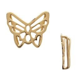 Breloque papillon ajouré en plaqué or 18 carats pendentif à insérer sur ruban