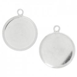Serti pendentif argent 925 breloque support cabochon rond fond plat 20 mm à coller