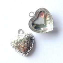 Breloque coeur argent 925 bombé décoré 18 mm