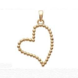 Pendentif coeur plaqué or 18 carats effet perlé hauteur 22 mm x 18 mm