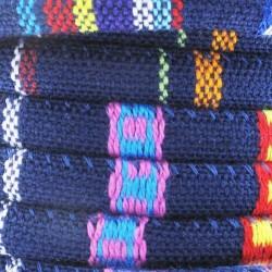 Cordon coton rond à motifs ethniques ton bleu mariine diam.6.5 mm X1M