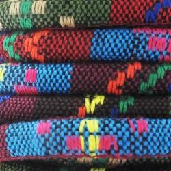 Cordon coton rond à motifs ethniques tons bleu marron diam.6.5 mm X1M