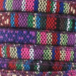 Cordon coton rond à motifs ethniques ton violet diam.6.5 mm X1M