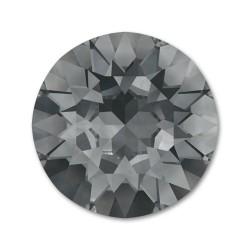 Cabochon rond cristal Swarovski nuit d'argent 8 mm dos en pointe par 4 pièces