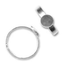 Support bague en argent 925 plateau rond 8 mm anneau réglable
