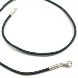 Collier cordon cuir bleu vert canard fermoir argent 925 longueur 38 cm