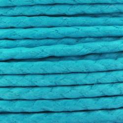 Cordon coton ciré tressé européen 2 mm bleu turquoise fil très résistant 2m50